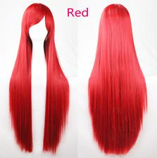 Fashion Anime Colorful Cosplay Wigs Long Straight Women Hair Beautiful New Red