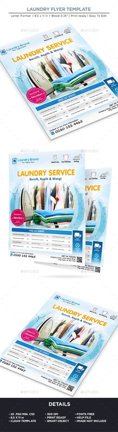 Buy Laundry Services Flyer - Business Flyer by on GraphicRiver. Laundry Services Flyer – Business Flyer All elements beside the image are fully editable CMYK – print ready Letter: . Business Flyer Templates, Brochure Template, Invitation Templates, Laundry Business, Cleaning Business, Hipster Graphic Tees, Smart Image, Trendy Outfits For Teens, Magazin Design