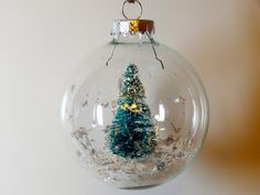 Dry Snow Globe Christmas Tree Ornament by Auntiquarian on Etsy