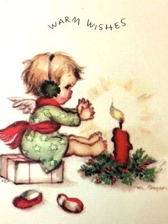 ANGELS AUCTION VTG XMAS CARD 1946 RUSTCRAFT MARJORIE COOPER ANGEL CANDLE | eBay