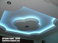 gypsum ceiling designs with blue hidden lights