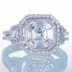 Asscher Cut Diamond Engagement Wedding Anniversary Ring by samnsue, on Etsy.