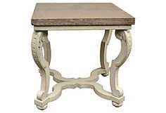 Gustavian-Style Side Table w/ Marble Top