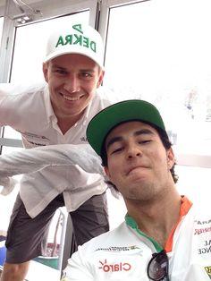 "Pre-race ""Feel The Force""-selfie with Checo Pérez and Nico Hülkenberg - 2014 Malaysian GP"