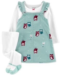 Carter's Baby Girls Crewneck T-Shirt, Owl-Print Corduroy Jumper & Footed Tights Set - Turq/aqua Carters Baby Clothes, Carters Baby Boys, Babies Clothes, Babies Stuff, Style Grunge, Grunge Look, 90s Grunge, Soft Grunge, Grunge Outfits