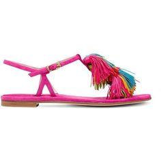 Stuart Weitzman THE JABOW SANDAL ($398) ❤ liked on Polyvore featuring shoes, sandals, pink, stuart weitzman sandals, strappy flats, flat pumps, strap sandals and strappy shoes #stuartweitzmanflats #stuartweitzmanpumps