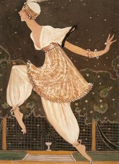 """George Lepape (illustrator) Denise Poiret at """"The Thousand and Second Night"""" party"""