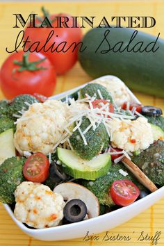 Marinated Italian Salad on SixSistersStuff.com.  Great way to use those garden veggies!