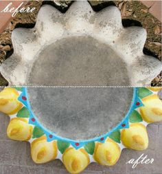 You can see the difference of how a cement bird baths can be painted to give them color and pizazz. By Creative Kismet.