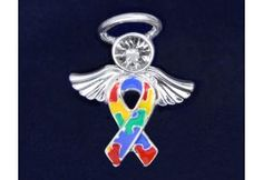 Angel Tac Autism Pin. The body of the angel is a ribbon consisting of multicolored puzzle pieces with angel wings and a halo.(P-05-2)