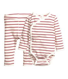 Bodysuit and Pants | Natural white/Red striped | KIDS | H&M US