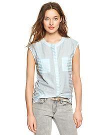 Stripe dobby pocket shirt