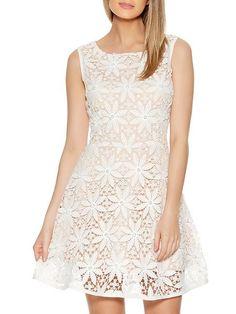 Quiz Cream Crochet Pearl Skater Dress
