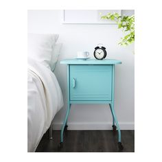 IKEA VETTRE bedside table Inside there is room for an extension socket for your chargers.