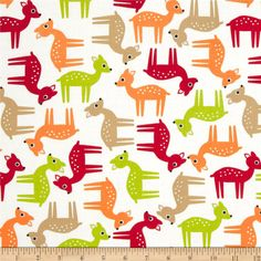 Woodland Pals Tossed Deer Bermuda from @fabricdotcom  Designed by Ann Kelle for Robert Kaufman Fabrics, this cotton print fabric is perfect for quilting, apparel, crafts and home décor accents. Colors include red, orange, lime green, and tan with a white background.