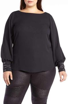 8dd9138003e ADDITION ELLE LOVE AND LEGEND Embellished Slit Sleeve Blouse (Plus Size) Addition  Elle