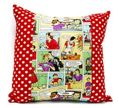 Comic Throw Pillow cover  18x18inch Decorative by Lilach Oren
