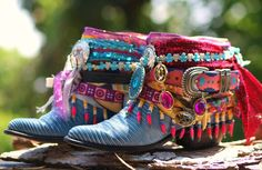 upcycled cowboy boots from TheLookFactory on Etsy - 2019 Bohemian Boots, Gypsy Boots, Boho Shoes, Hippie Shoes, Hippie Bags, Boho Bags, Ankle Boots, Shoe Boots, Botas Boho