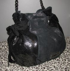 Betsey Johnson Black Satchel w/Sequins & Bows. Starting at $15