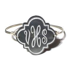 Personalized Quatrefoil Bangle Bracelet