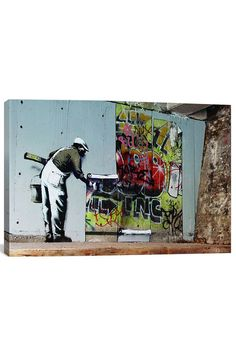 The Graffiti Wallpaper Hanging By Banksy Canvas Print 12  x 18  x 0.75  in Multi
