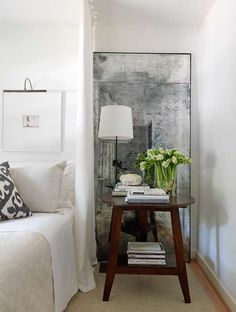 Mirror + chic neutrals in bedroom by LM