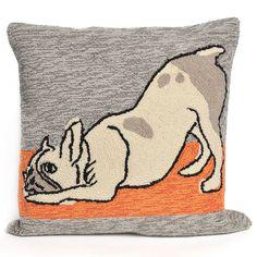 Liora Manne Yoga Dog Heather Throw Pillow, Grey