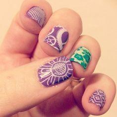Custom monogram initials nail stamping plate handmade nail art random nail stamping flowers ikat steampunk gears prinsesfo Gallery