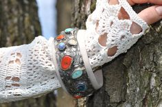 Ceramic bracelet  cuff art  wood  gift gift for her by zolanna
