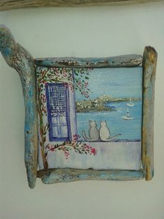 handpainted canvas with driftwood frame