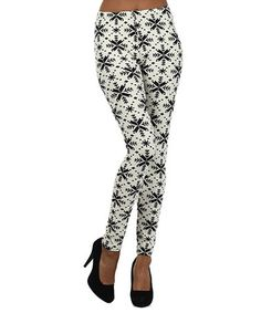 Take a look at this White & Black Snowflake Leggings by r.bryant on #zulily today!