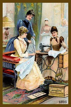 Domestic Sewing Machines 1895. Quilt Block printed on cotton. Ready to sew. Single 4x6 block $4.95. Set of 4 - 4x6 quilt blocks with wall hanging pattern $17.95.