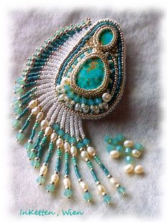 """InKetten: Bead Embroidery; Turquoise Pendant """"for Renata"""", more work..."""