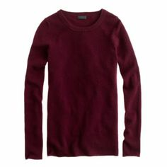 J.Crew | Collection Cashmere Long-Sleeve Tee in Heather Cabernet