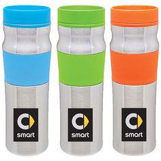"Silicone grip tumbler Part Number: ASHD085  $15.00 Offered in three fun and vibrant colors, this 16 oz. stainless steel tumbler will make a statement. Features double-wall construction, plastic liner; foam insulation, easy clean push-on lid and silicone grip. Dimensions are 9""x3"". Available in blue, green or orange."