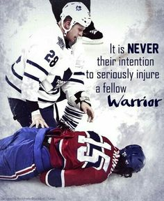 "The compassion from a Hockey player is not a rare occasion, because they know that it was never their intention to seriously injure a fellow warrior.This is Hockey. They will never be what they seem to be to people who don't understand "" the game. Hockey Memes, Hockey Quotes, Funny Hockey, Montreal Canadiens, Hockey Baby, Hockey Girls, Soccer, Hockey Boards, Blackhawks Hockey"