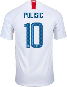 2018/19 Nike USA Christian Pulisic Home Jersey. Get this great gift from soccerpro.com for your loved one! Us Soccer, Soccer Gifts, Soccer Fans, Soccer Jerseys, Carli Lloyd, Christian Pulisic, Jersey Atletico Madrid, Team Gear, Marco Reus