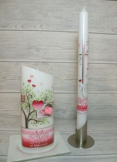 #lebenskerze #taufkerze  #taufe #eule #art #candles #unikat Personalized Candles, Candle Making, Pillar Candles, Blog, Kirchen, How To Make, Crafts, Candid, Beautiful