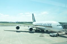 Singapore Airlines A380 at Changi Airport.