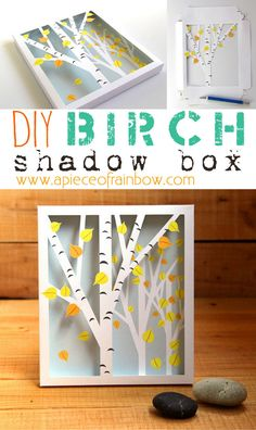 FREE Printable Birch Shadow Box, only needs 2 pieces of paper! - A Piece Of Rainbow