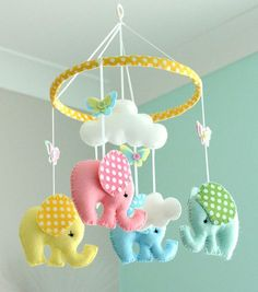 Baby Mobile - Elephant Mobile - Nursery Mobile - Polka Dot E .- Baby Mobile – Elephant Mobile – Nursery Mobile – Polka Dot Elephants – Multicoloured – Felt Mobile – Made To Order Baby mobile Mobile Mobile nursery polka dot elephant by FlossyTots - Elephant Mobile, Elephant Nursery, Elephant Baby, Baby Elephants, Baby Crafts, Felt Crafts, Baby Accessoires, Baby Crib Mobile, Baby Decor