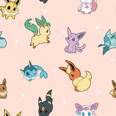 Pokemon - Eeveelutions [pink wallpaper/background] Eevee, Flareon, Jolteon, Sylveon, Vaporeon, Umbreon, Espeon, Leafeon