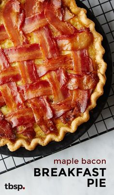 Take all your favorite breakfast ingredients -– bacon, eggs, hash browns, cheese, milk – and combine them into a glorious breakfast pie. Then add a bacon lattice on top and the creation is complete! (Read comments about bacon-DH) Bacon Breakfast, What's For Breakfast, Breakfast Dishes, Breakfast Casserole, Breakfast Recipes, Breakfast Pancakes, Yummy Breakfast Ideas, Breakfast Enchiladas, Bacon Recipes