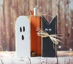 68 Trendy Ideas for halloween wood crafts cat pumpkin Diy Halloween, Halloween Chat Noir, Halloween Wood Crafts, Adornos Halloween, Holiday Crafts, Halloween Pumpkins, Halloween Blocks, Halloween Rustique, Primitive Halloween Decor