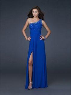 Column Beaded One-shoulder High Slit Drape Open Back Royalblue Prom Dress PD1646