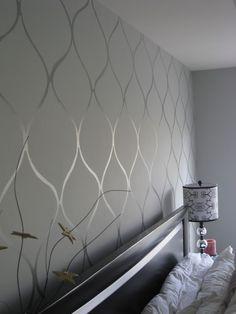 Wall stencil high gloss paint on matte base. Want.