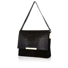 Black Bag Slouch Leather Suede Croc £60 #riverisland #elle #autumn #musthave
