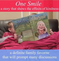 """Pennies of Time: """"Penny of Time"""" Adventure: Book Read--""""One Smile""""--the story shows how one child's smile can create a wave of good actions on the part of other people towards one another.  This story provides a great way to discuss with your children how our actions affect others.  Post includes a link to the video """"Kindness Boomerang"""" which my kids love seeing!  Teach children to serve."""