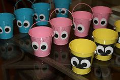 Yo Gabba Gabba Birthday Party!! could find these buckets at Micheal's and put lollipops in them