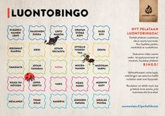 Luontobingo A4 (PDF) Finnish Language, Childhood Education, Bingo, Crafts For Kids, Parenting, Classroom, Science, Teaching, School